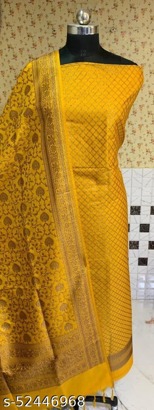 (4Mustard) Exclusive Banarsi Kataan Silk Suit And Dress Material