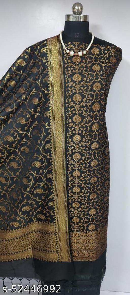 (R8Black) Fabulous Banarsi Kataan Silk Suit And Dress Material