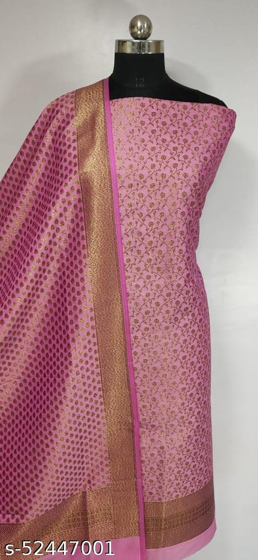 (R9Light Pink) Fabulous Banarsi Kataan Silk Suit And Dress Material