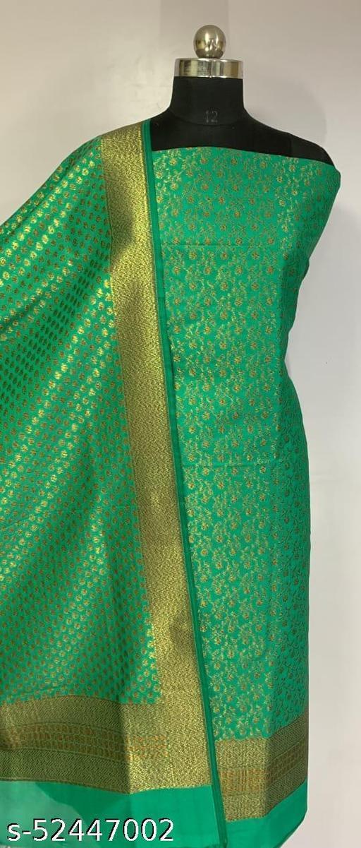 (R9Teal) Fabulous Banarsi Kataan Silk Suit And Dress Material