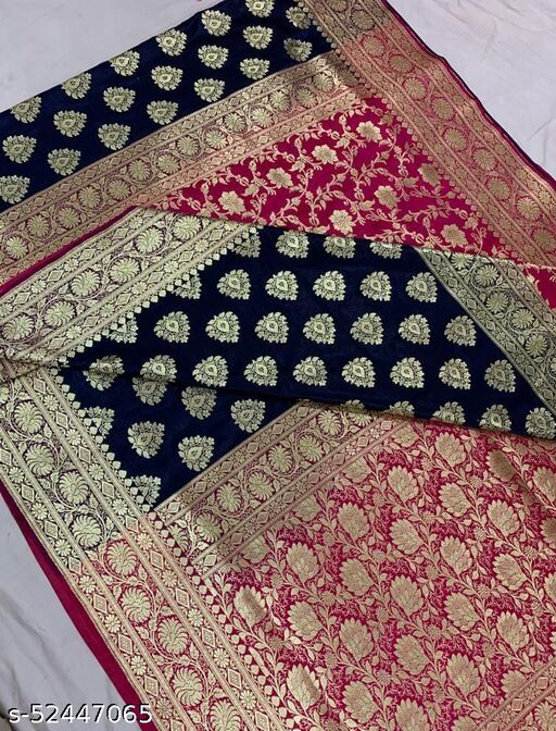(R3Navy Blue) Fabulous Banarsi Partly Silk Saree Specially For Weddings