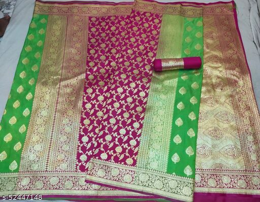 (R13Mint Green) Fabulous TrenDy Banarsi Partly Silk Saree for Specially Weddings