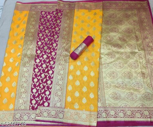 (R13Yellow) Fabulous TrenDy Banarsi Partly Silk Saree for Specially Weddings