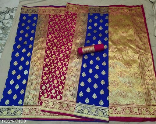 (R13Blue) Fabulous TrenDy Banarsi Partly Silk Saree for Specially Weddings