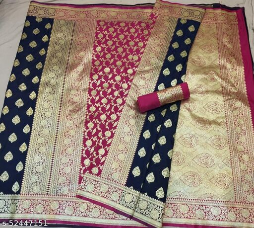 (R13Navy Blue) Fabulous TrenDy Banarsi Partly Silk Saree for Specially Weddings