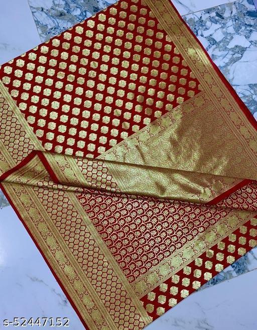 (R14Red) Weddings Special Banarsi Half Half Silk Saree