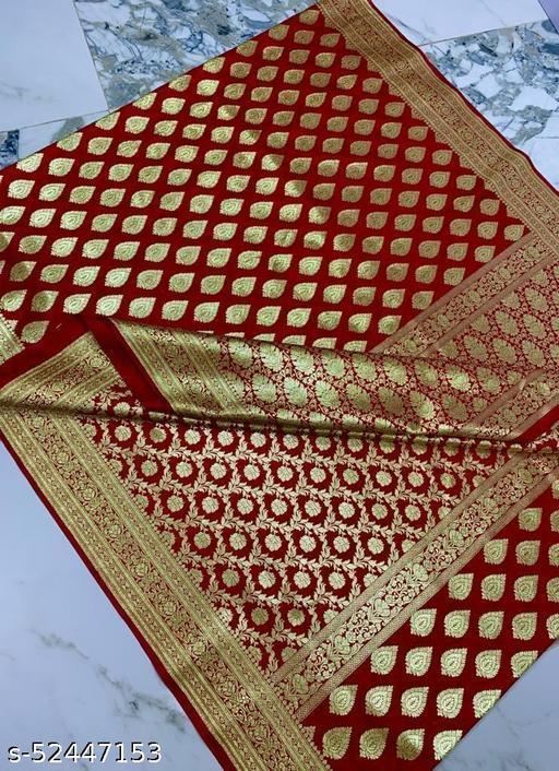 (R14Red.) Weddings Special Banarsi Half Half Silk Saree