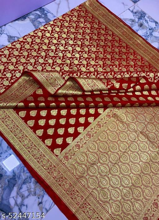 (R14Red..) Weddings Special Banarsi Half Half Silk Saree