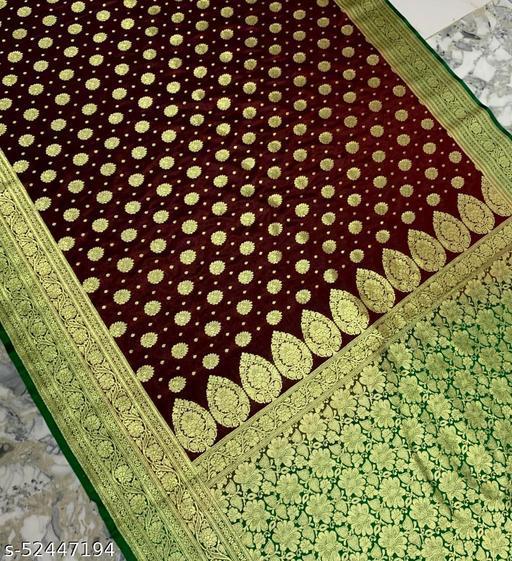 (R16Dark Maroon) Fashionable Banarsi Silk Saree