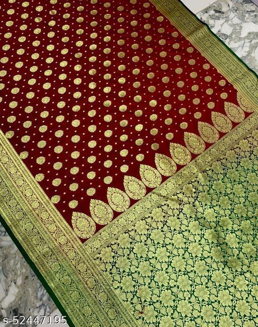 (R16Maroon) Fashionable Banarsi Silk Saree