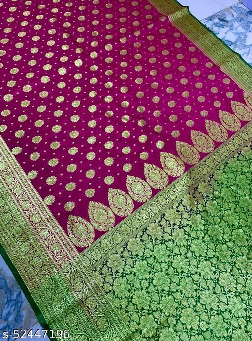 (R16Pink) Fashionable Banarsi Silk Saree