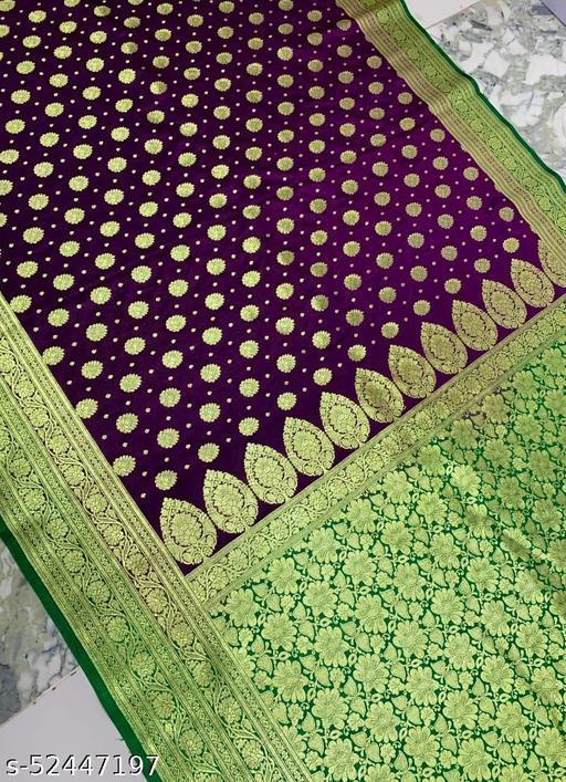 (R16Purple) Fashionable Banarsi Silk Saree