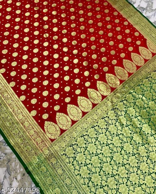 (R16Red) Fashionable Banarsi Silk Saree