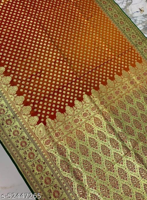 (R20Orange) Fabulous TrenDy Banarsi Silk Saree for Specially Weddings