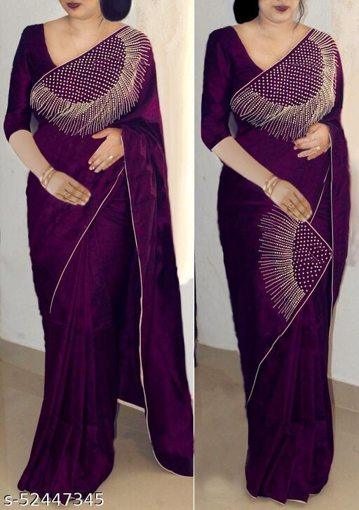 Silk saree with diamond work with piping boder (EMBROBRIDAL new colletion of silk sari)