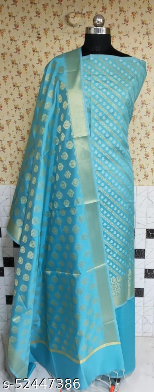 (R7Aqua Blue) Fabulous Weddings Special Banarsi Silk Suit And Dress Material