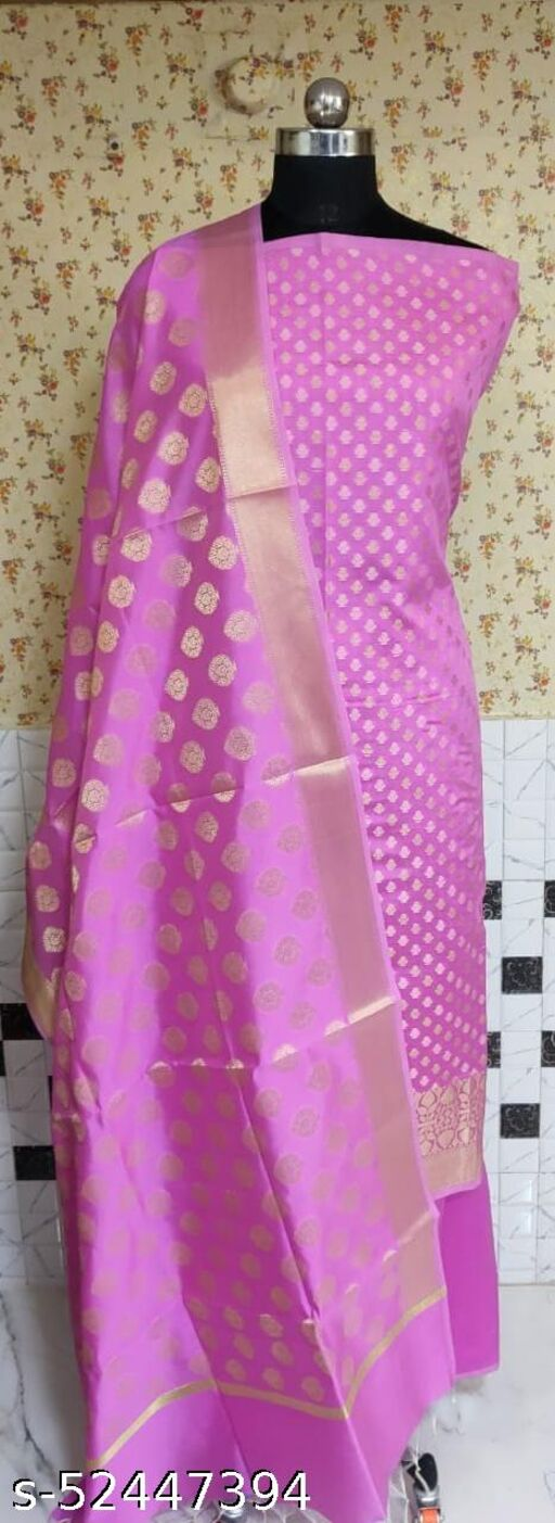 (R8Pink) Fashionable TrenDy Banarsi Silk Suit And Dress Material