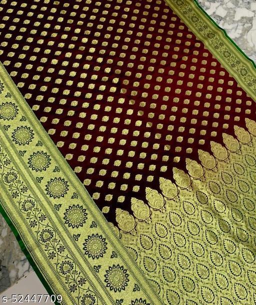 (R23Dark Maroon) Fashionable TrenDy Banarsi Silk Saree