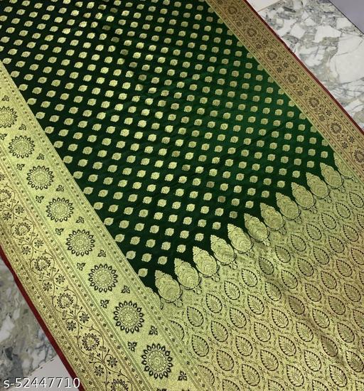 (R23Green) Fashionable TrenDy Banarsi Silk Saree