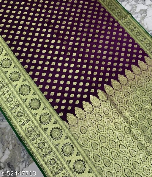 (R23Purple) Fashionable TrenDy Banarsi Silk Saree