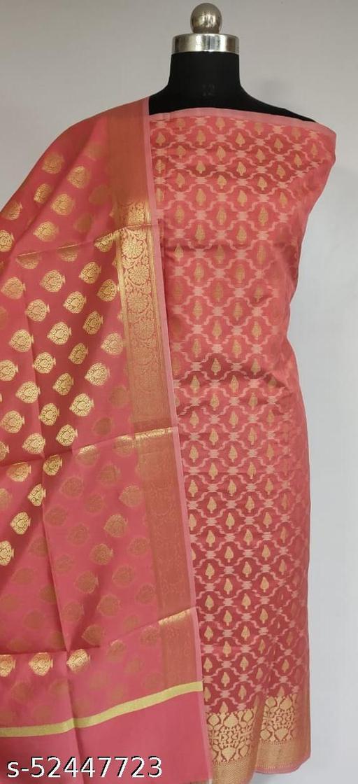 (R9Peach) Fabulous Banarsi Silk Suit And Dress Material