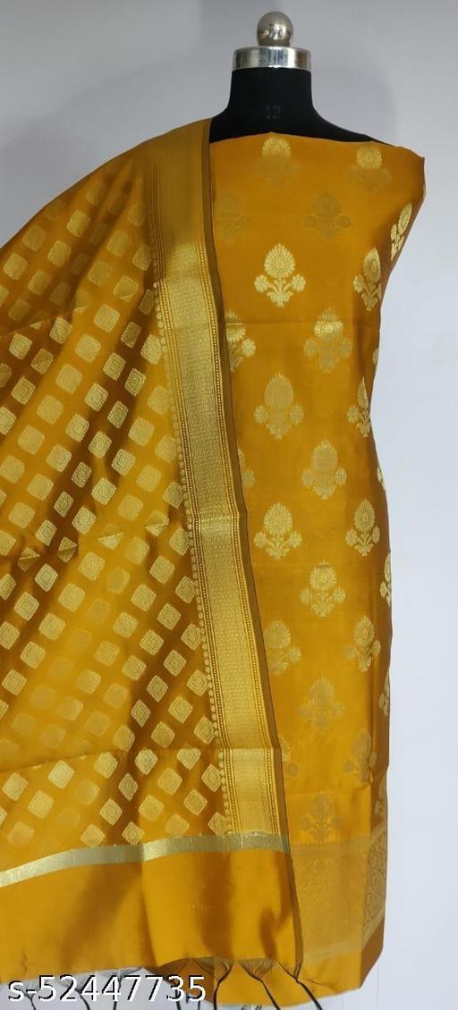 (R10Mustard) TrenDy Fabulous Banarsi Silk Suit And Dress Material