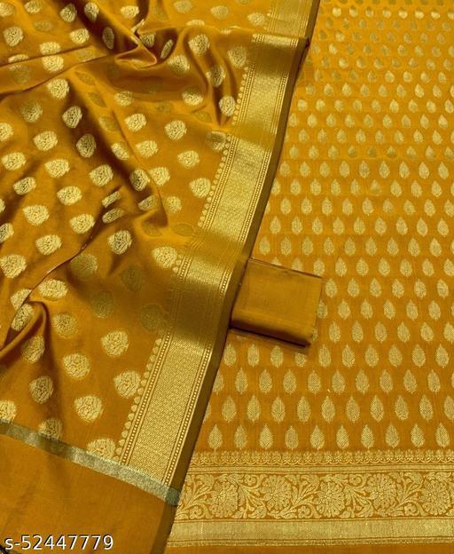 (R3Mustard) TrenDy Fabulous Banarsi Silk Suit And Dress Material