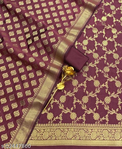 (R15Maroon) Weddings Special Banarsi Silk Suit And Dress Material