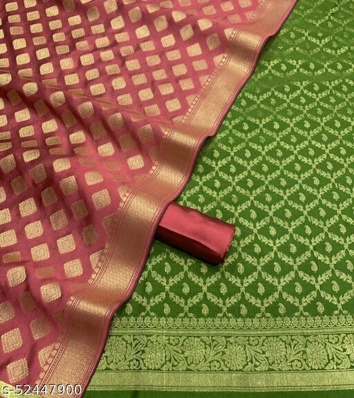 (R17Mint Green) Weddings Special Banarsi Silk Suit And Dress Material