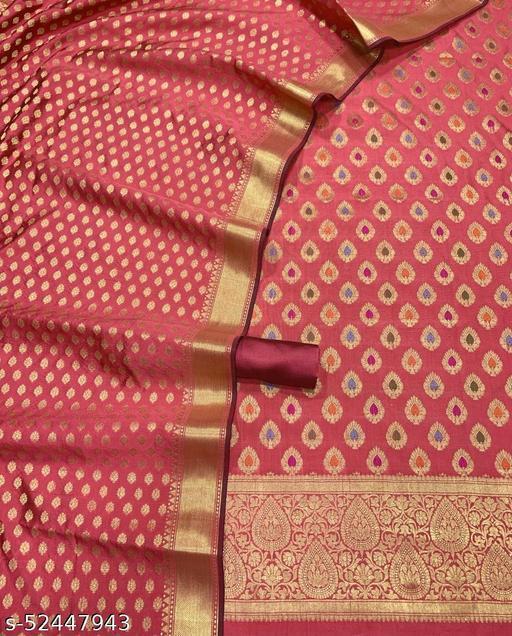 (R19Peach) TrenDy Banarsi Jaquard Multi Mina Silk Suit And Dress Material