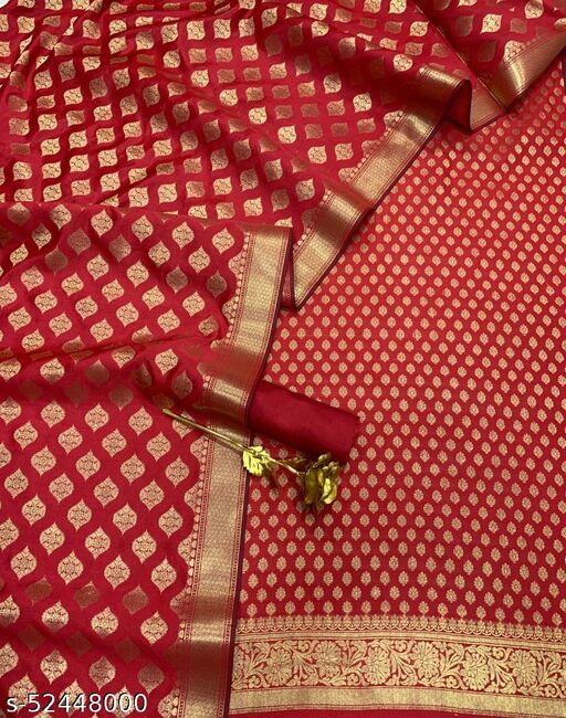(R22Red) Weddings Special Banarsi Silk Suit And Dress Material