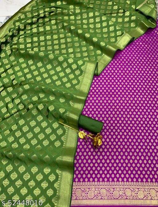 (R23Purple) Weddings Special Banarsi Contrass Silk Suit And Dress Material