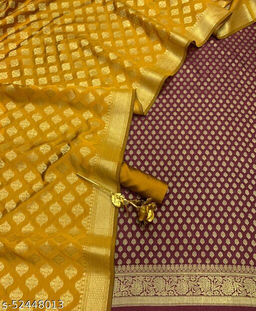 (R23Maroon) Weddings Special Banarsi Contrass Silk Suit And Dress Material