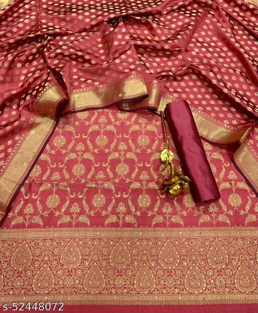 (R28Peach) Exclusive Banarsi Jaquard Stone Work Silk Suit And Dress Material