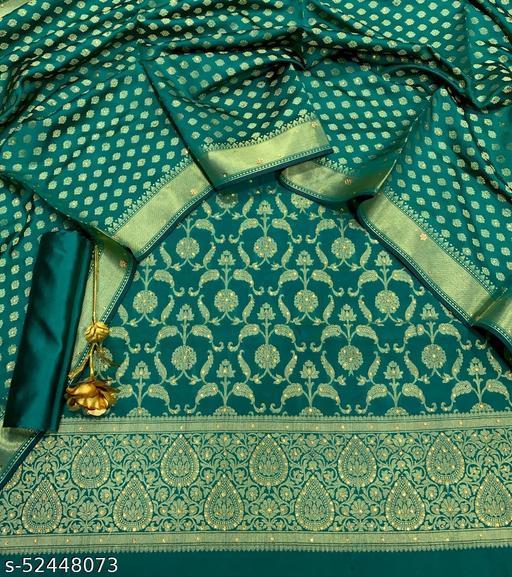 (R28Teal) Exclusive Banarsi Jaquard Stone Work Silk Suit And Dress Material