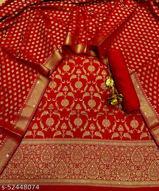 (R28Red) Exclusive Banarsi Jaquard Stone Work Silk Suit And Dress Material