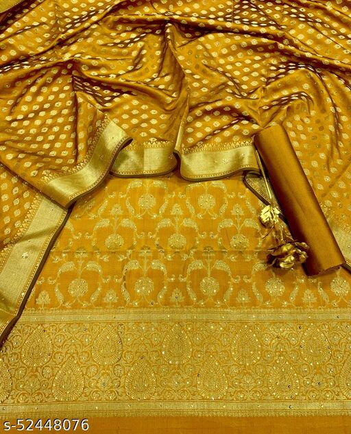 (R28Mustard) Exclusive Banarsi Jaquard Stone Work Silk Suit And Dress Material