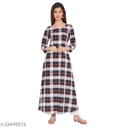 AgrohA Women's A-line Cotton Checkered Kurta/Kurti