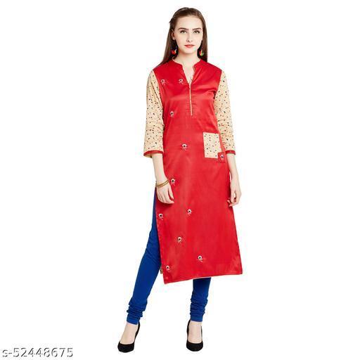 AgrohA Women's Red Cotton Straight Kurta/Kurti
