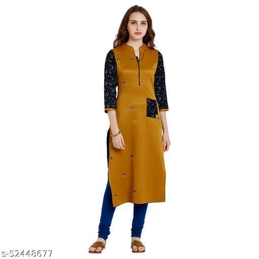AgrohA Women's Mustard Cotton Straight Kurta/Kurti