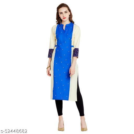 AgrohA Women's Blue Cotton Straight Kurta/Kurti