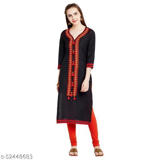 AgrohA Women's Black Linen Cotton Straight Kurta/Kurti