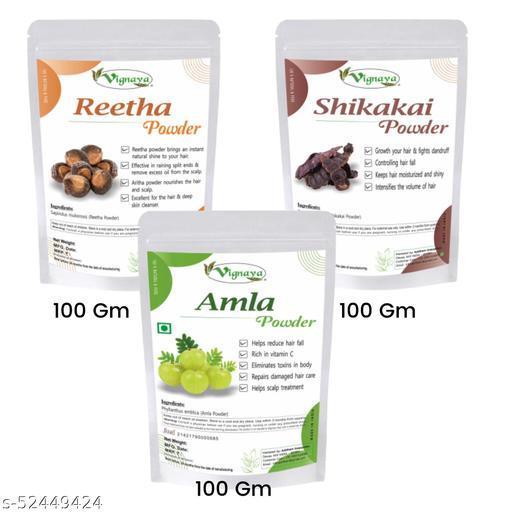Vignaya Herbal Amla Reetha Shikakai Powder for Natural Hair Shampoo and Hair Wash (Each-100 Gm)