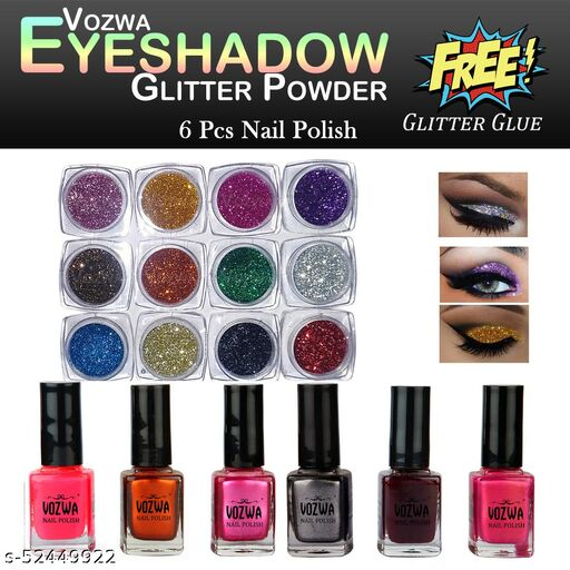 Vozwa 12 color Eyeshadow glitter Powder + one stroke nail lacquer Set of 6 Combo Set