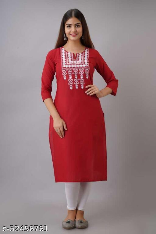 P R FASHIONS RED EMBROIDERY KURTI