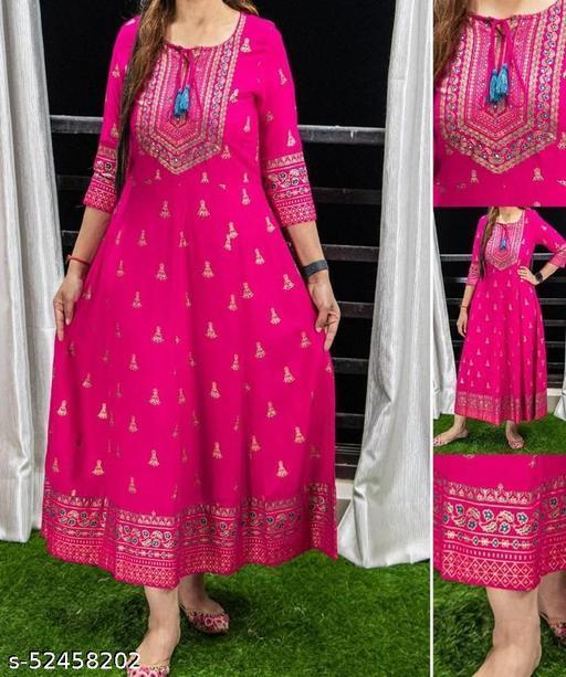 Women Classy Fabulous pink long kurti