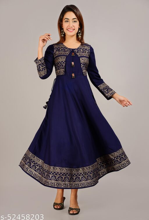 Women Stylish blue anarkali kurti with jacket