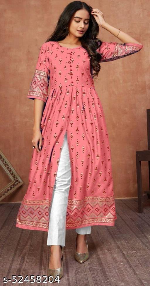 Women stylish pink front cut kurti