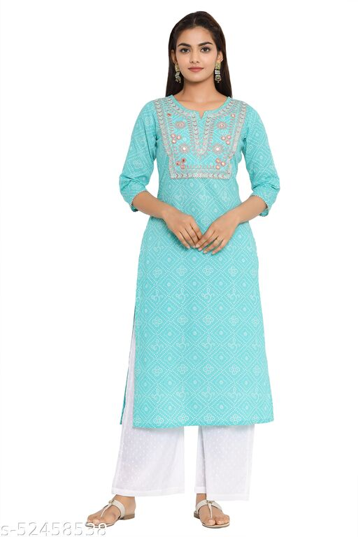 COTLAND Fashions Cotton Embroidered Bandhej Print Straight Kurta/Kurti For Women/Girls (Sky Blue)