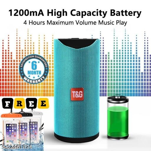 Portable Bluetooth Speaker TG-113 with Bluetooth/Aux/FM/SD Card Support for iOS, Android and Computers (Assorted Colour) + 1 Free Water Proof Cover (For Protect Phone/Money/Card)
